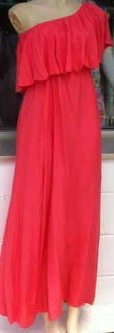 Coral One Shoulder Maxi Dress  Knee Length only  S12/14